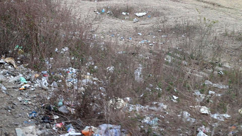 Terrible unsanitary conditions of Indian slum. The side of the road Footage