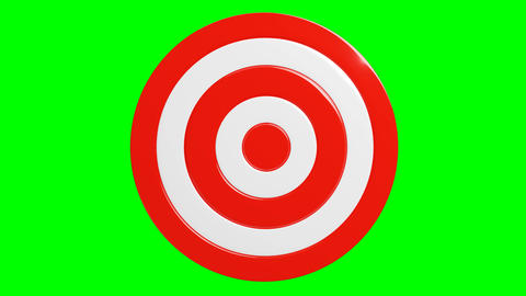 Red dart arrow hits target.Isolated on green chroma key Animation