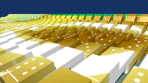 Happy New Year 2017 on falling domino bricks, 3D animation Animation