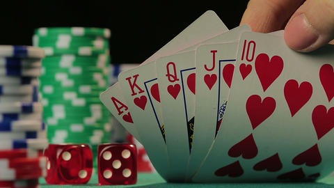 Lucky poker player catches royal flush, successful person wins a game, POV Footage