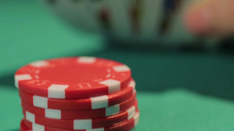 Lucky beginner catches good hand in poker game, successful investment in startup Footage
