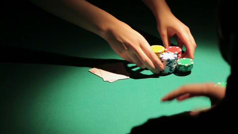 Shadow of lucky poker player winning bank in casino, man succeeds in gambling Footage