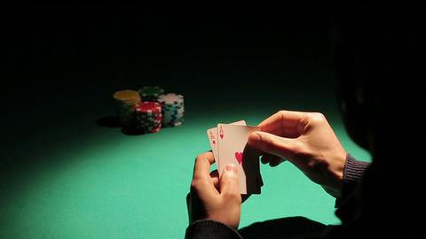Poker player catching good cards from dealer, lucky game for gambling addict Footage
