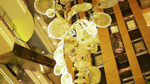 Sophisticated festive Christmas decoration spinning slowly in elite hotel lobby Footage