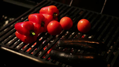 Fresh bell pepper and eggplants grilled for healthy dinner, low calorie diet Footage