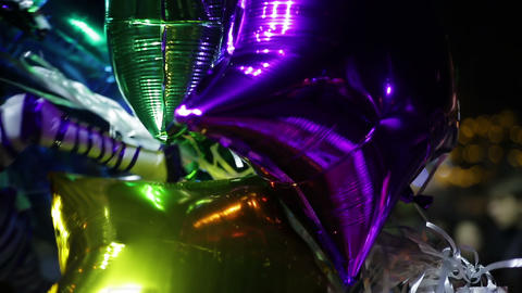 Colorful balloons waving in wind, happy birthday congratulations from friends Footage