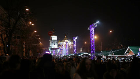 Millions of happy people enjoying festive concert on central square in big city Footage