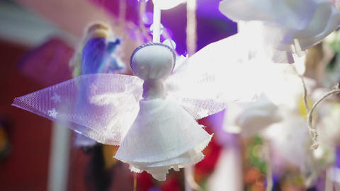 Beautiful handmade toy angel, nice decoration for Christmas tree, make a wish Footage