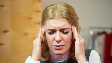 Blonde suffering from headache. Beautiful housewife having strong pain. Health Footage
