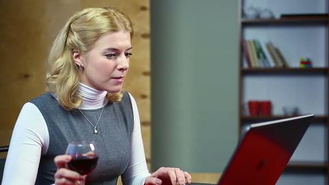 Surprised woman reading latest news, celebrity gossip on the internet. Relax Footage