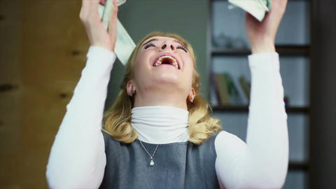 Happy woman catching money from above, prize winner, winning lottery jackpot Footage