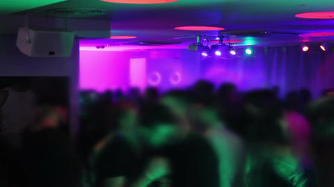 Visual effects, timelapse. Crowd hanging out in the club. Nightclub atmosphere Footage