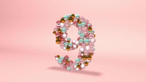 Number 9 nine beads digit beads pearls beads number 9 nine balls alphabet balls pearls ball number 9 Animation