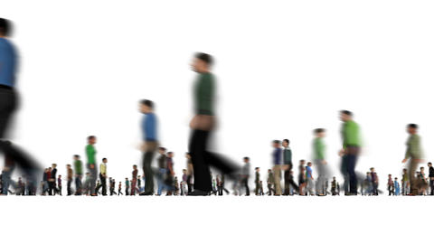 Modern group blurry walking people on white Active lifestyle Rush hour Animation