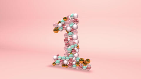 Number 1 one beads digit beads pearls beads number 1 one balls alphabet balls pearls ball number 1 Animation