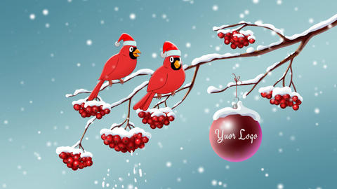 Christmas and New Year animated card with rowan and red birds After Effects Template