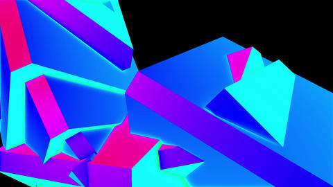 Abstract Colorful Angular Polygons Retro Futuristic 3D Motion Background Loop 4 Animation