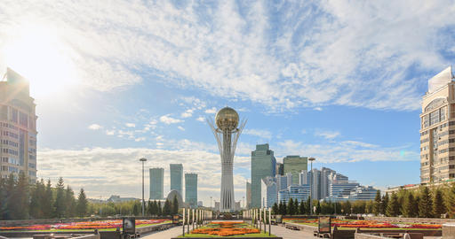 Astana, Baiterek on a background of clouds. Fixed perspective. Kazakstan. TimeLa Footage