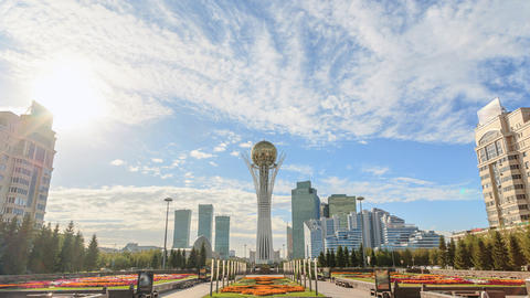 Astana, Baiterek on a background of clouds. Kazakstan. Time Lapse Footage