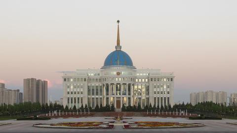 Akorda Presidential Palace at sunset. Astana, Kazakhstan. Time Lapse Live Action