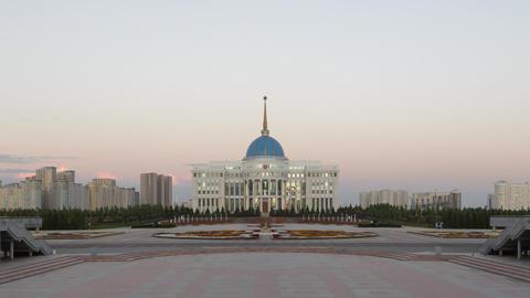 Akorda Presidential Palace at sunset. Astana, Kazakhstan. TimeLapse Live Action