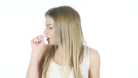 Coughing, Sick Woman Suffering From Cough, White Background Footage