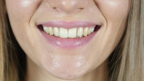 Close Up Of Smiling Female Lips Footage