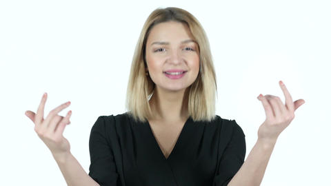 Invitation Gesture by Young Woman, White Background Footage