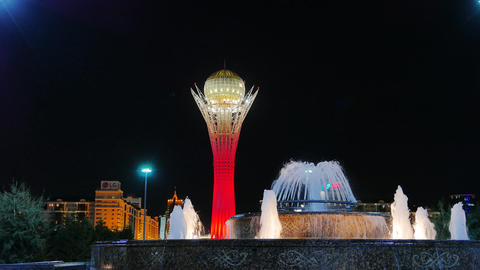 Baiterek - The central Landmark of the new Astana, in the light of night lights Footage