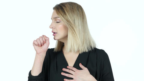 Coughing, Sick Young Woman, White Background Footage