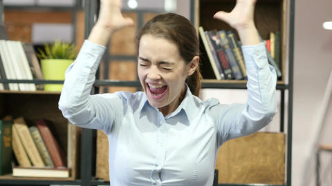 Success, Woman Cheering and Celebrating successful, Office Footage