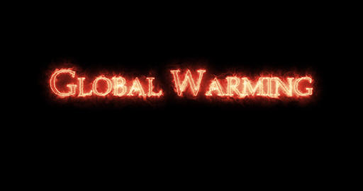 Global Warming written with fire. Loop Animation