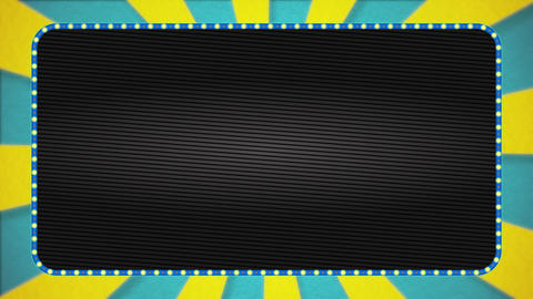 Light blue / yellow radiation background animation / light blue illuminated frame / text space Animation