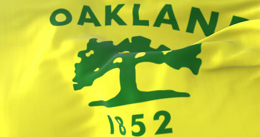 Flag of Oakland city, city of United States of America, slow - loop Animation