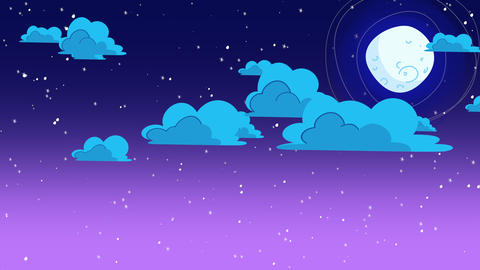 Cartoon animation background with motion clouds and moon on blue sky, abstract backdrop Animation
