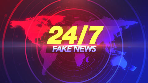 Animation text 24 Fake News and news intro graphic with lines and world map in studio Animation