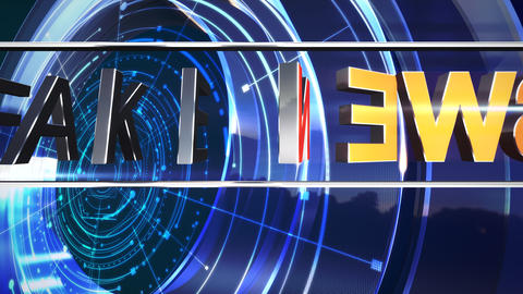 Animation text Fake News and news intro graphic with blue circular shapes in studio Animation