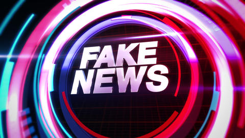 Animation text Fake News and news intro graphic with circular lines in studio Animation