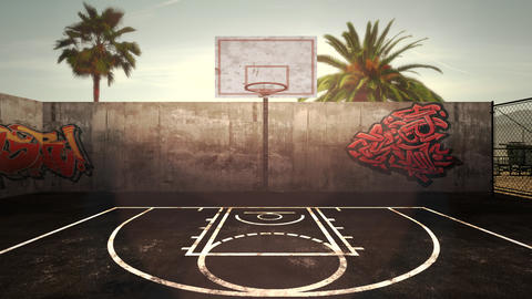 Panorama of city landscape with empty basketball court and many palms in park, sunset summer day Animation