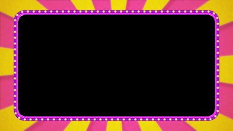 ピンク・黄色の放射線の枠アニメーション・紫の電飾・アルファ付き CG動画