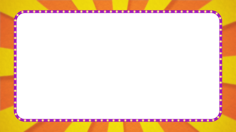 オレンジ・黄色の放射線の枠アニメーション・紫の電飾・アルファ付き CG動画
