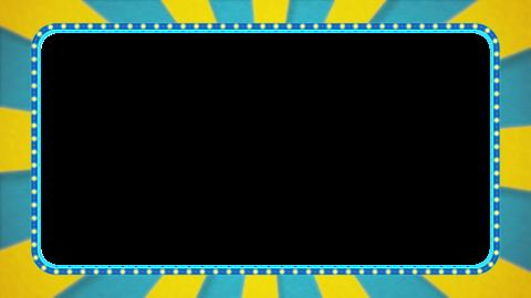 水色・黄色の放射線の枠アニメーション・水色の電飾・アルファ付き CG動画