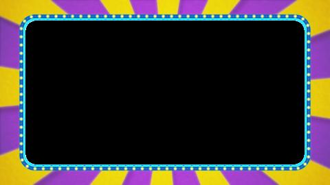 紫・黄色の放射線の枠アニメーション・水色の電飾・アルファ付き CG動画