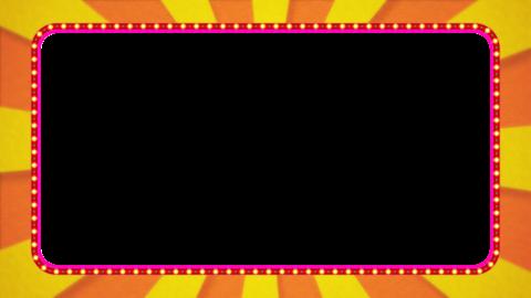 オレンジ・黄色の放射線の枠アニメーション・赤の電飾・アルファ付き CG動画