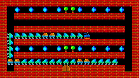 Train puzzle, retro style low resolution pixelated game... Stock Video Footage