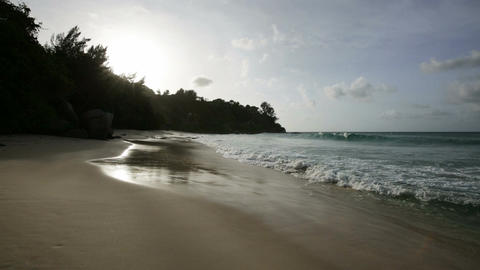 Waves And Sunset in Mahe, Seychelles Live Action