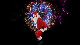 Santa Claus Dancing isolated, Dance 4, fireworks display Stock Video Footage