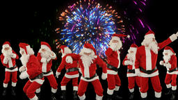 Bunch of Santa Claus Dancing with holiday fireworks Animation