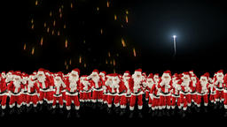 Santa Claus Crowd Dacing, Christmas Party Merry Christmas Shape, fireworks displ Animation