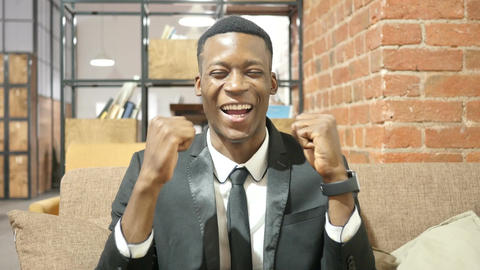 Successful Black Businessman Celebrating Success Footage